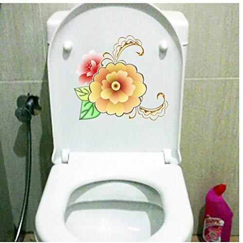 Muursticker 3 stuks plantenpatroon Cartoon bloem geel met gouden rand bloemen cartoon wanddecoratie toiletbril sticker 22,4 x 22,7 cm