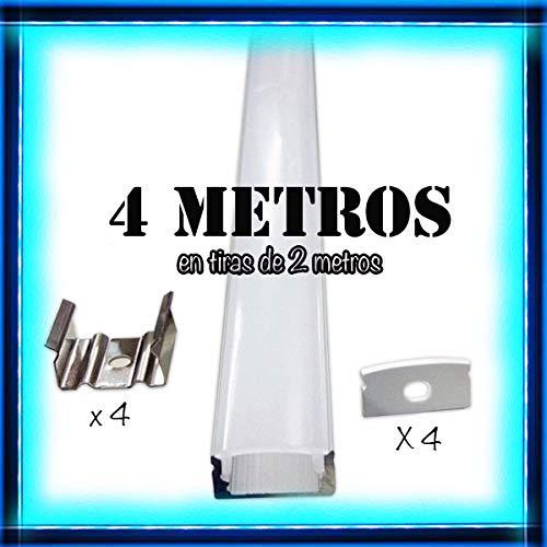 Perfil de aluminio para LED tira con difusor opaco PACK 4 metros con soporte de montaje