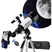Stilnend AZ70500 70mm Aperture 500mm AZ Mount Astronomical Refractor Telescope with Tripod Phone Adapter