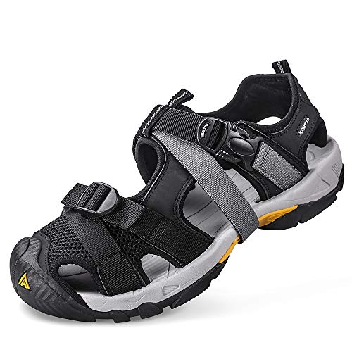Mens Hiking Sandals Breathable Athletic Climbing Summer Beach Water Shoes greyo Size 9
