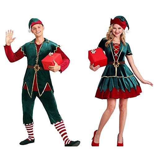 LCTS Kerst Clown Kostuum Kerst Groen Mannen En Vrouwen Paar Kostuum Kerst Volwassenen Kleding Cosplay Kostuums