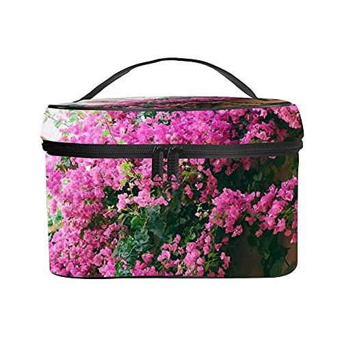 Neceser Maquillaje, Ligera Maleta de Makeup, Bolsa de Maquillaje de Viaje Portátil Bolsa de Cosméticos Organizador para Mujer (Flor Rosa)