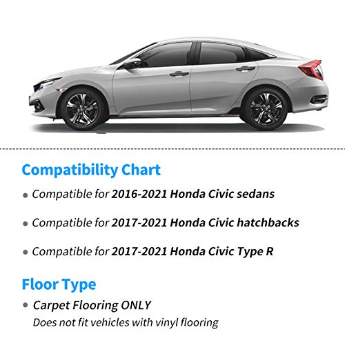 OEDRO Floor Mats Compatible for 2016-2021 Honda Civic Sedan / Civic Hatchback / Civic Type R, Unique Black TPE All-Weather Guard Includes 1st and 2nd Row: Front, Rear, Full Set Liners