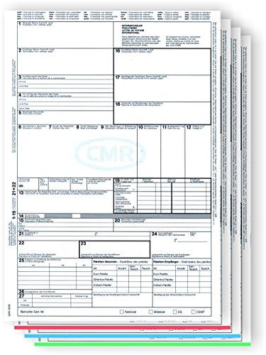 500 x CMR Frachtbrief 4-teilig für Laser- und Inkjetdrucker, Einzelblätter DIN A4 lose im Wechsel/für internationalen Güterverkehr