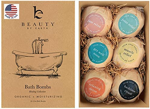 Bath Bombs Gift Set – 6 Large with Organic Shea Butter, Made in USA, Best Christmas & Birthday Gifts for Women, Bath Bomb Gifts for Her, Bath Bombs for Kids, with Salts, Clays and Essential Oils