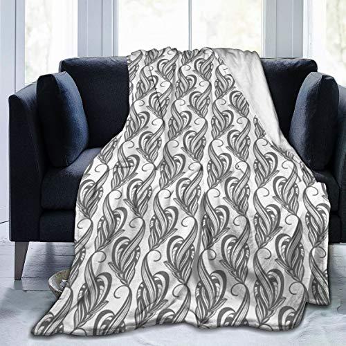 Flannel fleece Throw blanketten met artistieke slingerende blaadjes met abstract design, zachte fluffy Throws microvezel blanket
