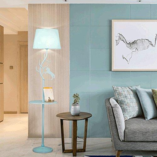Ywyun Salon nordique canapé table basse étude chambre chevet en bois massif lampadaire, lampe de table créative simple couleur moderne, lampe de plancher chambre d'enfant rose (Color : Blue)