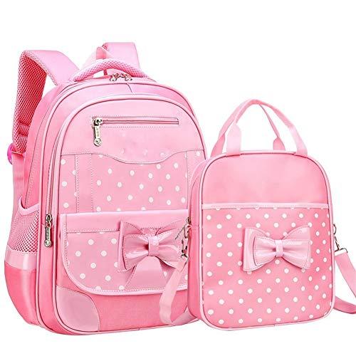 L-sister Conjunto de Bolsas Escolares de 6-12 años de Edad para niña Punto de Moda Cunning Bow School Backpack Escuela de Inicio El Topper Regalo para niña Estilo único