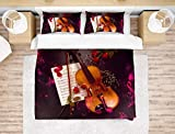 NYLIN Bettwäsche Geige Bettbezüge Set Romantisch Musik Rose Elegant Art Musikinstrument Bett Sets 2/3/4Teilig Bettbezüge/Kissenbezüge/Bettlaken Für Kinde (King-220×230cm-4PCS,01)