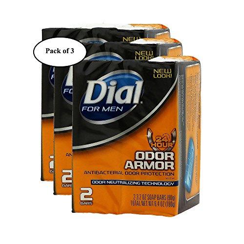 DIAL Bar Soap For Men ODOR ARMOR Antibacterial 2pk/90g (Pack of 3)