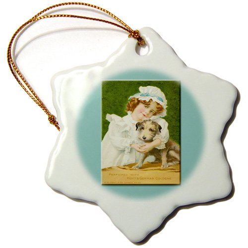 3dRose ORN_169744_1 Hoyts German Cologne Little Girlin a Nightgown with Little Dog Snowflake Ornament, Porcelain, 3-Inch