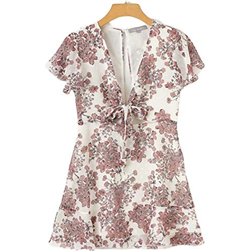 Vestido de Verano con Estampado Floral con Cuello en V Vintage Chiffon Center Bow Vestidos Mujer Caen envío Vestidos de Mujer Blanco