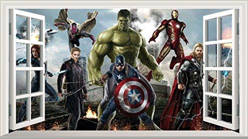 Marvel Avengers Superhero V301 3D-Wandaufkleber, selbstklebend, Größe 1000 mm breit x 600 mm tief (groß)