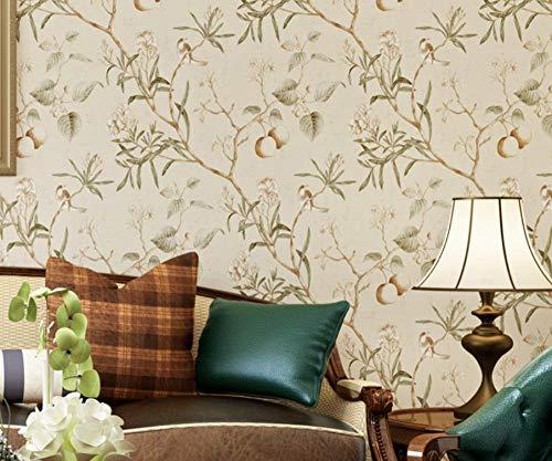 Amerikanische Vintage alte Apfelbaum Blume Vogel Reis Pulver Kaffee Farbe Schlafzimmer Wohnzimmer Vliestapete 10 x 0,53 = 5,3m²