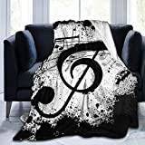 MSGUIDE Music Note Throw Blanket for Couch Cozy Flannel Bed Blanket Soft Lightweight Warm Decorative Blanket for Sofa, Travel - All Seasons Suitable for Girls Boys Women Men
