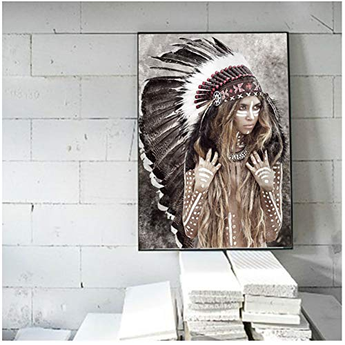 A&D Cherokee Girl Portrait Leinwand Gemälde Indianer Indianer Federfigur Gemälde Moderne Wandbilder Für Wohnzimmer Wohnkultur -50x70cm Kein Rahmen