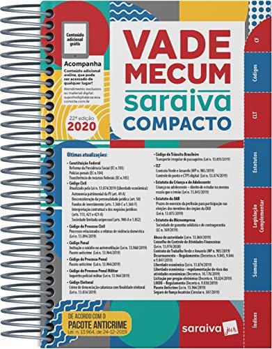 Vade Mecum Saraiva Compacto Espiral 2020 - 22ª Edição: Atualizado Com o Pacote Anticrime