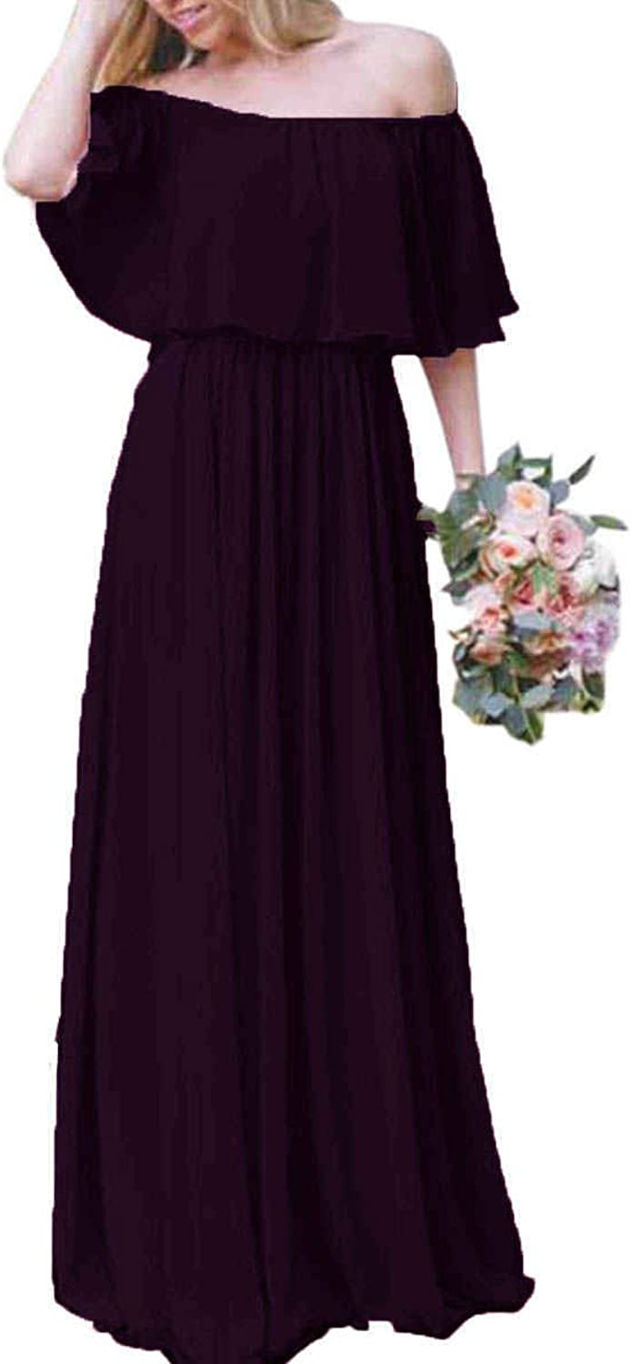 JQLD Womens Off The Shoulder Bridesmaid Dresses Long ALine Evening Prom Gowns