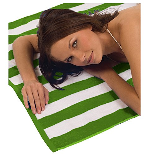 Turquoise Textile 100% Turkish Cotton Eco-Friendly Cabana Stripe Pool Beach Towel, 35x60 Inch (1 Pack, Lime Green)