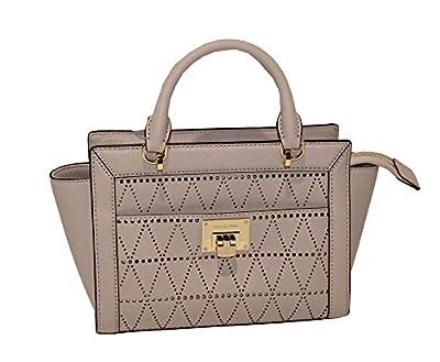 MICHAEL Michael Kors Women's TINA Small Top Zip Messenger leather shoulder Handbag (Ballet)