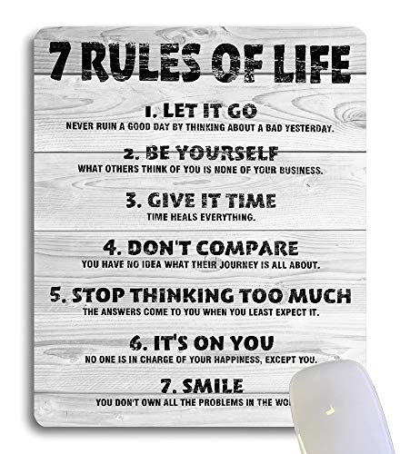 Wknoon 7 Rules of Life Motivational Quotes Mouse Pad Custom Design, Inspirational Quote Rustic White Grey Wood Grain Mouse Pads for Computers Laptops