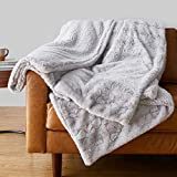 Amazon Basics Fuzzy Faux Fur Sherpa Blanket, King, 92'x108' - Light Grey