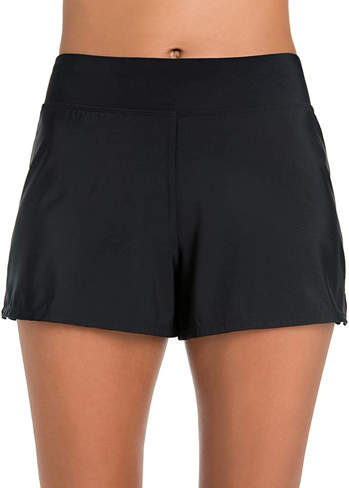 Penbrooke Women's Swimwear Solid Slit Yoga Waist Short Swim Bottom