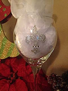 Hand Painted Fleur De Lis Wine Glass