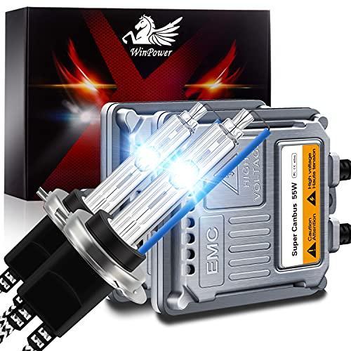 WinPower H7 Lampadina Xeno 55W Kit Conversione Fari con Decodificatore CANBus Zavorra HID 8000K Blu Ghiaccio Alta Luminosità Fascio Abbagliante/Anabbaglianti, 2 Pezzi