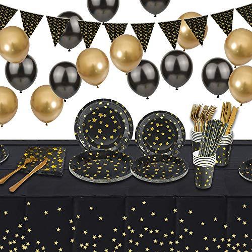 specool Set de suministros para fiestas, Vajilla de fiesta negra y dorada, Platos de papel Tazas Servilletas Tenedores Cuchillos Pajitas Globos Cubierta de mesa Banner para Navidad, cumpleaños