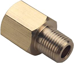 Dewhel Brass 1/8 NPT Female to 1/8 BSPT Male Gauge Sensor Sender Thread Adapter Reducer