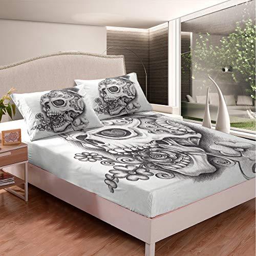 Loussiesd Juego de sábanas con estampado floral para niños, hombres, adultos, diseño de calavera, juego de ropa de cama con estampado de huesos góticos, 2 unidades, tamaño individual