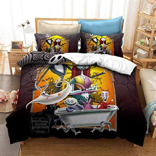3D Duvet Cover, The Nightmare Before Christmas Anime Duvet Cover Set – Duvet Cover And Pillow Case, Microfibre, 3D Digital Print Three-Piece Bedding (Quilt Cover+Pillowcase*2), King ,As a gift