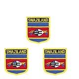 3 Stück Swasiland-Flagge bestickt Shiled Form Aufbügler Applikation Aufnähen