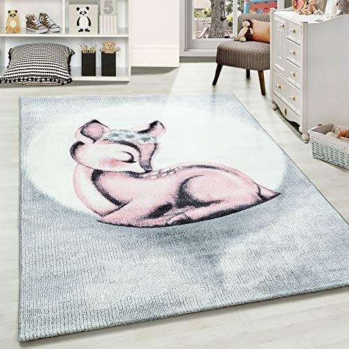 Carpetsale24 Kinderteppich » BAMBIX «, Kinderzimmerteppich, Rehkitz Kinderzimmer Babyzimmer,7 mm, Rechteckig, PINK, Maße:120 cm x 170 cm