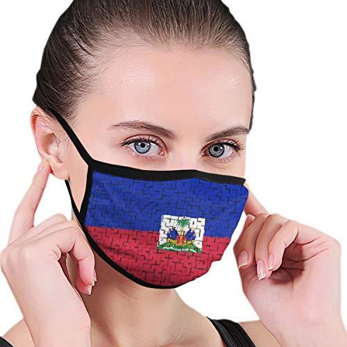 TTYIY Unisex herbruikbare gezichtsmasker bescherming wasbare gezichtshuid mond neus schild ademende anti-rook vervuiling fiets motorfiets sport - Haïti vlag puzzel