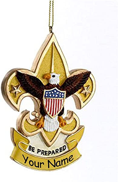 Kurt Adler Personalized Boy Scouts America Eagle Scout Fleur De Lis Hanging Christmas Ornament Be Prepared Custom Name