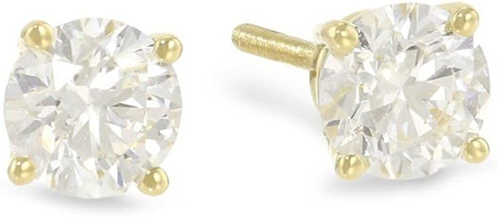 0.9 Carat Selling Attention brand Ideal Cut Diamond Stud Earrings Yellow Round Gold 14K