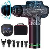 O'woda Pistolet de Massage Musculaire, Masseur de Muscle Profonds avec 20 Niveaux Réglables, 6 Têtes de Massage et Ecran LCD, Ultra Silencieux de Masseur de Muscles Profonds (Fibre de Carbone)