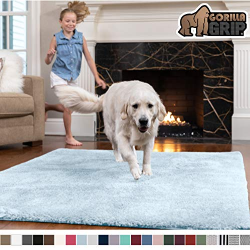 Gorilla Grip Original Faux-Chinchilla Rug, 5x7 Feet, Super Soft and Cozy High Pile Washable Carpet, Modern Rugs for Floor, Luxury Shaggy Carpets for Home, Nursery, Bed and Living Room, Light Blue