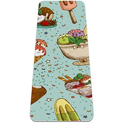 Eslifey Colorido tapete de yoga para helado dibujado a mano, grueso y antideslizante, para mujeres y niñas, tapete de ejercicio suave para pilates (72 x 24 pulgadas, 0,6 cm de grosor)