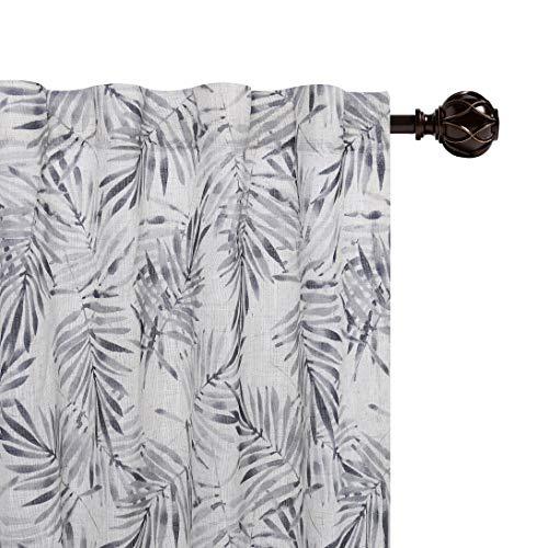 Central Park - Cortina de lino gris con diseño de palmera y hojas de palma, con bolsillo para barra, cortinas semitransparentes para salón y dormitorio, diseño moderno, 127 x 274 cm, 1 pieza, lino