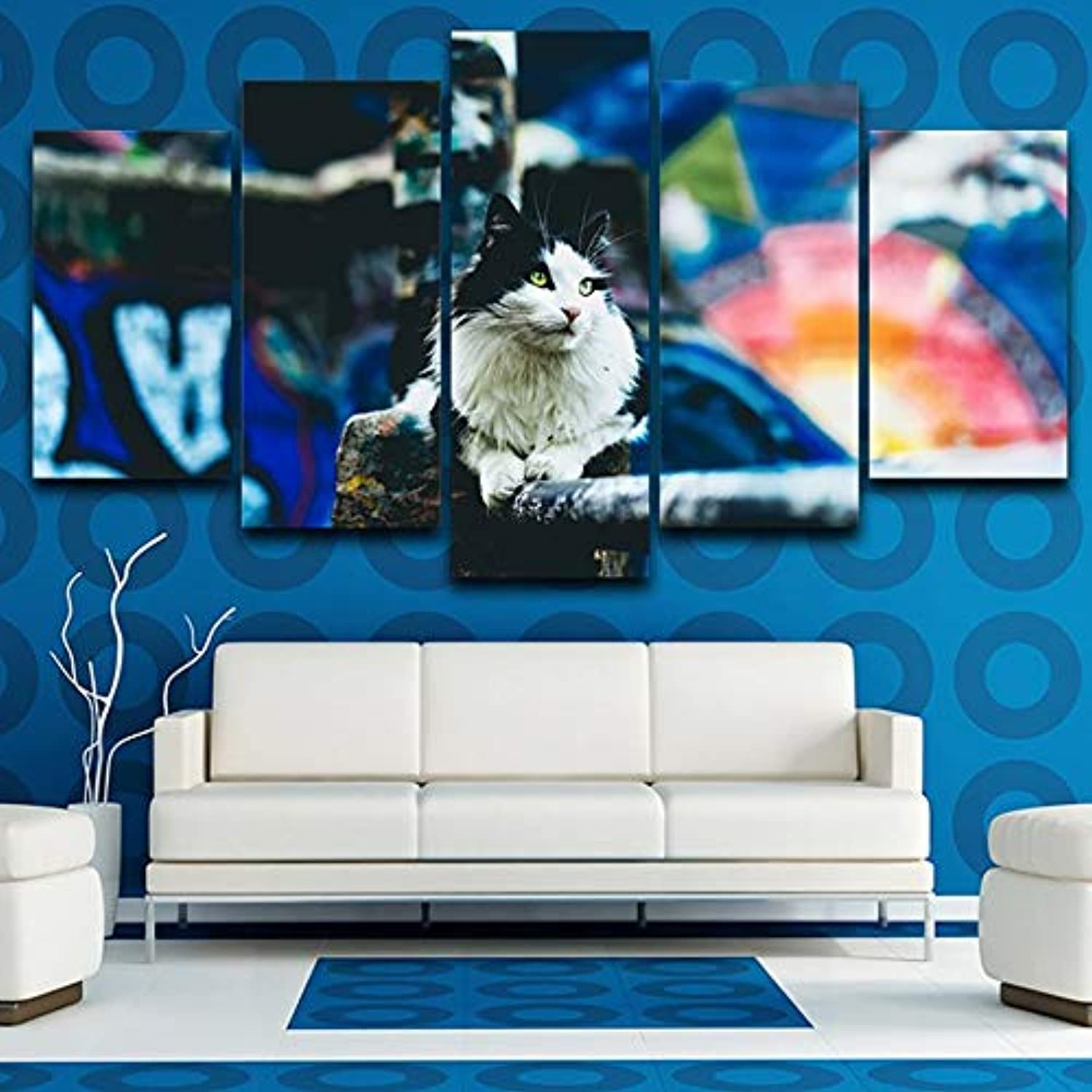 HD Printed Picture Framework Canvas Painting 5 Panel Black White Cat Animal Home Decor Poster for Living Room