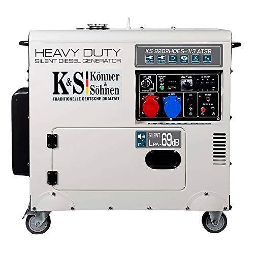 Könner & Söhnen KS 9202HDES-1/3 ATSR - Stromerzeuger (Euro II), 18PS 4-Takt Dieselmotor mit E-Start, Vorwärmer, Automatischer Spannungsregler, Lärmarm, 7500/6400 Watt, 1x16A (400V)/ 1x32A (230V)