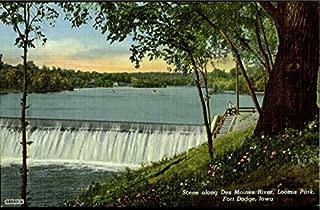 Scene along Des Moines River, Loomis Park Fort Dodge, Iowa Original Vintage Postcard