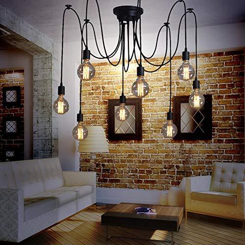 Oursun Kronleuchter Industrie Pendelleuchte Vintage Retro Spinne Lampe Hängend Deckenleuchte Hängelampe Pendellampe für Schlafzimmer Wohnzimmer Esszimmer (8 lights) - 4