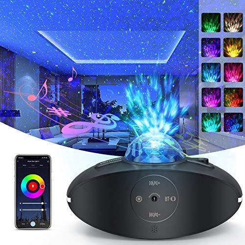 LED Sternenhimmel Projektor Lampe, Starry Projector Light mit 360° Drehen Ozeanwellen/Bluetooth Musikspieler/Fernbedienung/Timer, LED Projektor Weihnachten für Kinder Zimmer Party