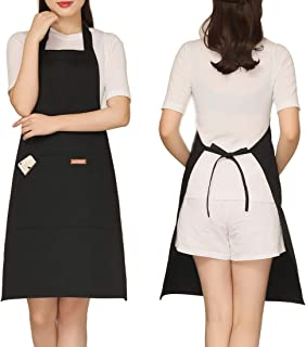 Cooking Apron with Pockets for Kitchen - Adjustable Shoulder Strap Aprons for Women Chef Cooking Baking (Black)