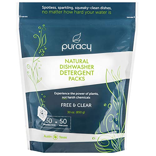 Puracy Platinum Dishwasher Detergent Pods, 50 Count, Natural Enzyme Powder Tablets, Spot &...