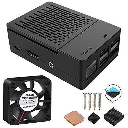 GeeekPi Funda para Raspberry Pi 3 Modelo B+ (B Plus), con Ventilador de refrigeración y disipadores térmicos 3PCS para...